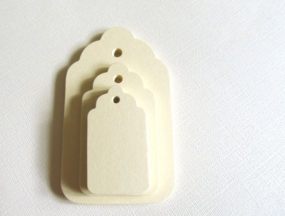 30 Small Cream Tags Gift Tags Party Favor Tags by CatchSomeRaes, $2.70