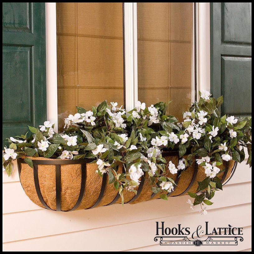 60 Xl Standard Window Box W Xl Coir Liner Window Box Flowers Window Baskets Planter Boxes Flowers