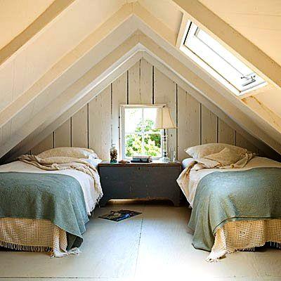 amusing attic loft interior design | Low ceiling attic, low platform beds, simple remodel ...