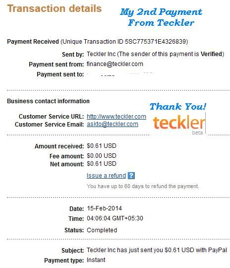 Second Payment From Teckler