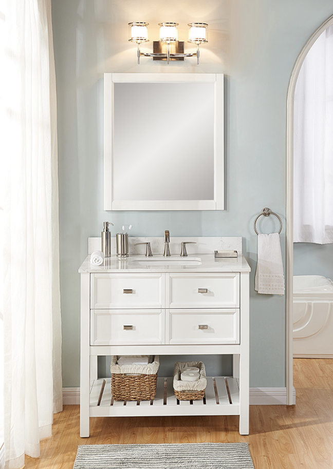 Upstair Vanity Lowes 500 Scott Living Canterbury White Single