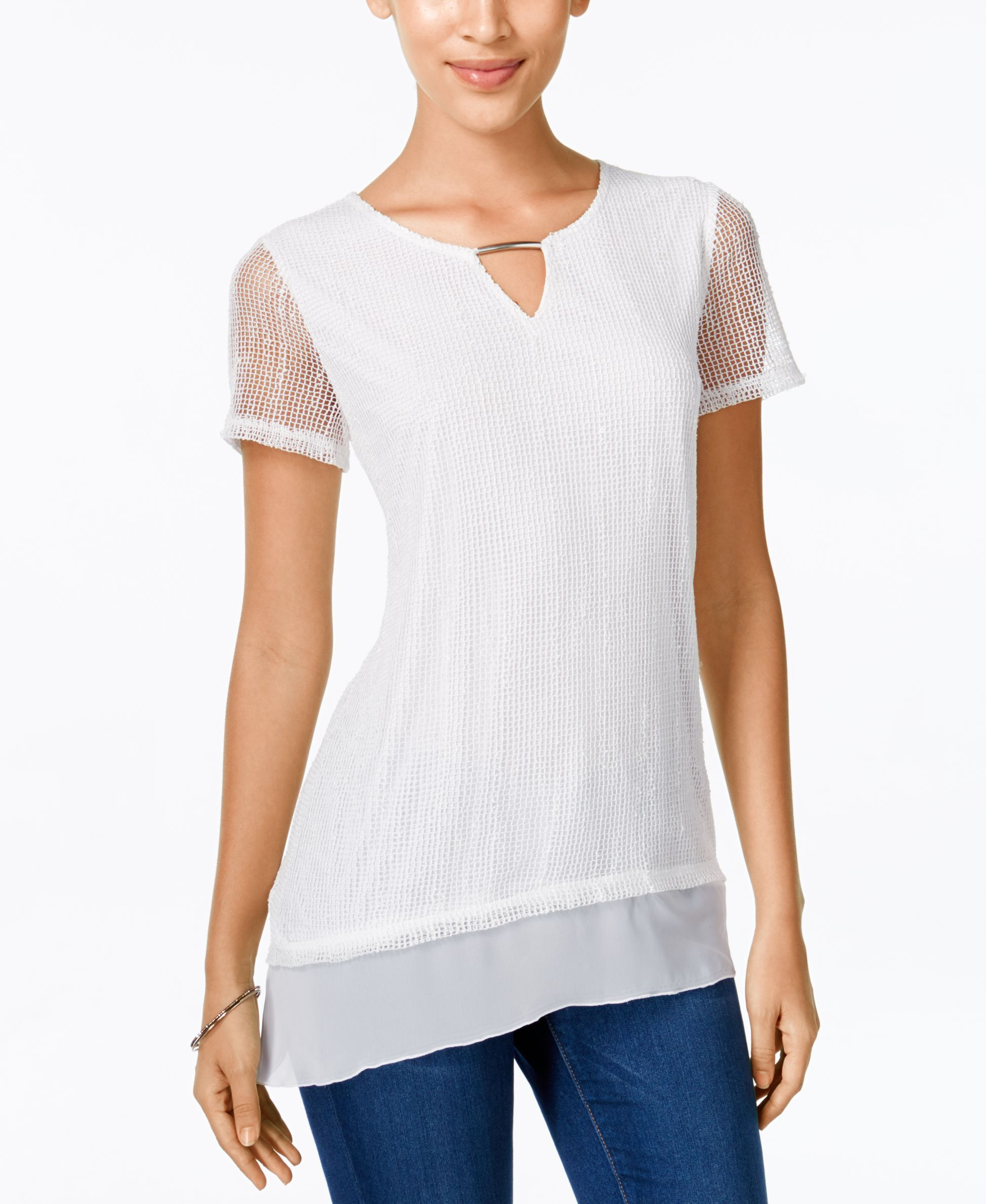 Jm Collection Plus Size Printed Keyhole Top, Only at Macy