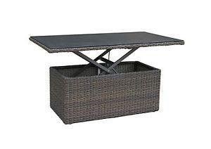 Hoehenverstellbarer Gartentisch Polyrattan Glasplatte Grau Gartenmoebel Set Tisch Gartenmobel Sets Lounge Tisch Rattan Couchtisch