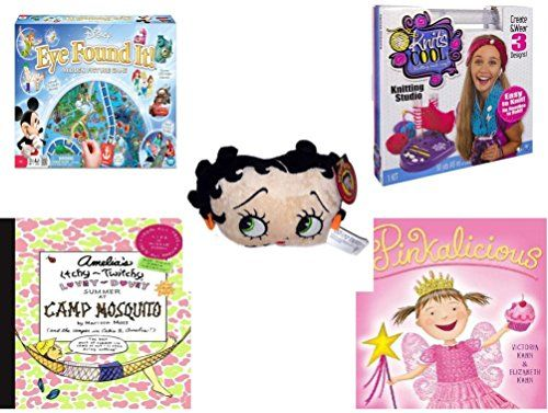 Girls Gift Bundle  Ages 612 5 Piece  World of Disney Eye Found It Board Game  Knits Cool  Knitting Studio  KellyToy Betty Boop Head Plush 7  Amelias ItchyTwitchy LoveyDovey Summer at