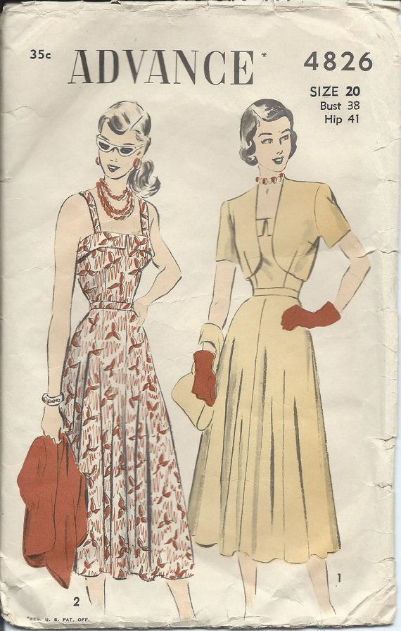 0886877f6d2 1940s Vintage SUNDRESS and Short BOLERO Jacket Sewing Pattern - PLUS Size 20