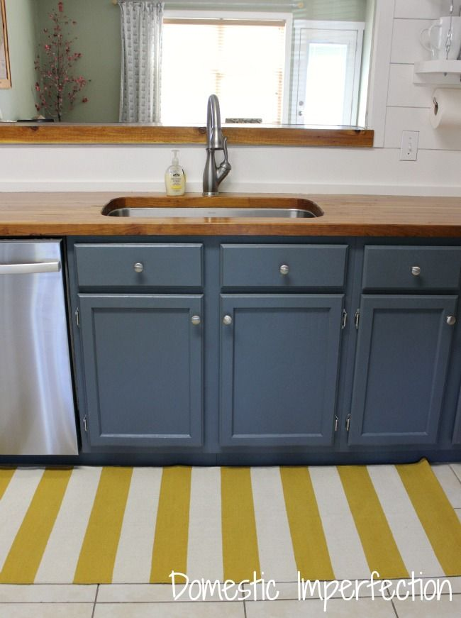 Cherry butcher block countertops from Lumber Liquidators. Cabinets painted Grays Harbor by Sherwin Williams. & Answers to Your Most Frequently Asked Questions | Pinterest | Lumber ...