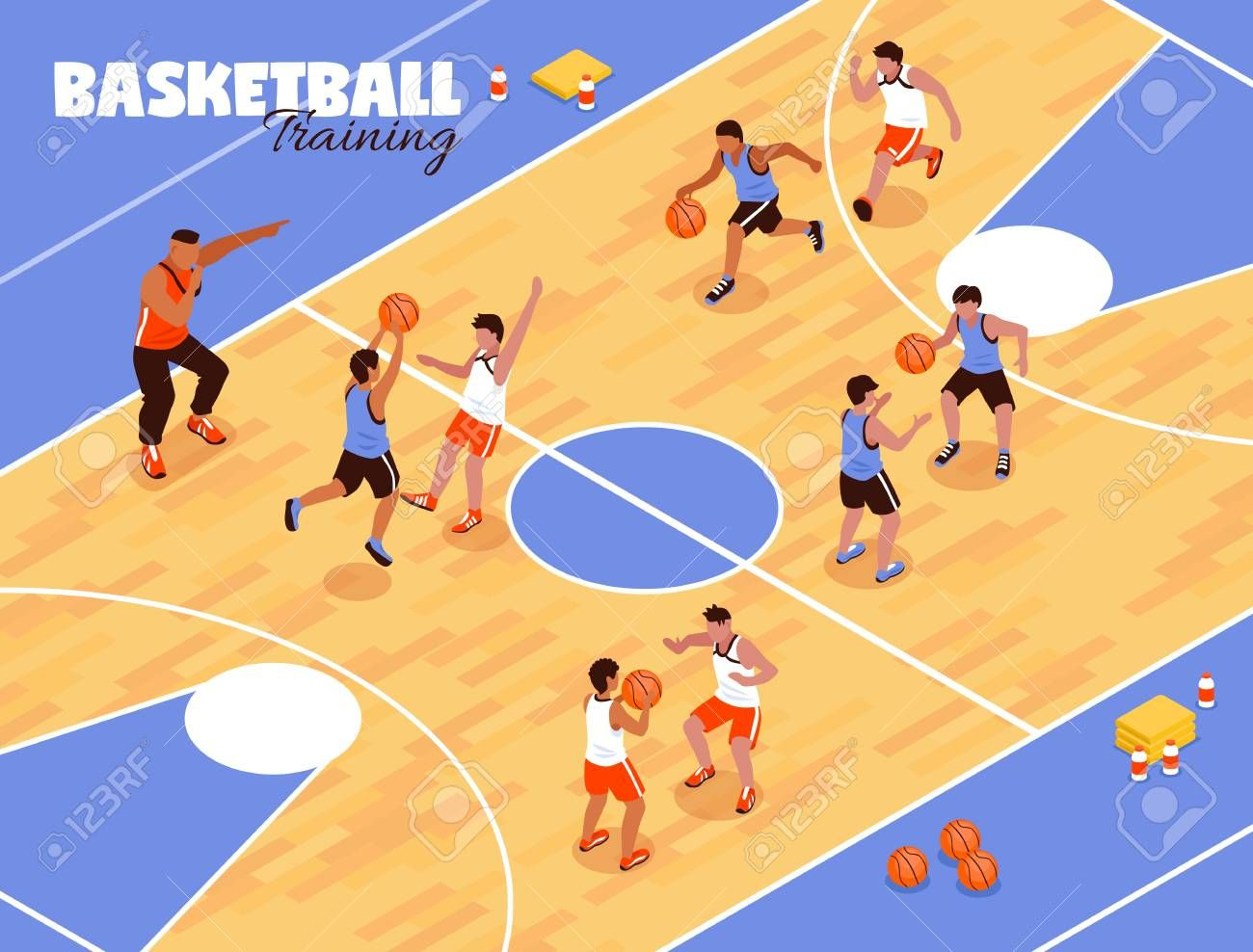 Isometric School Sport Kids Team Basketball Background Composition With View Of Basketball Court And Basketball Teams Basketball Background Basketball Training