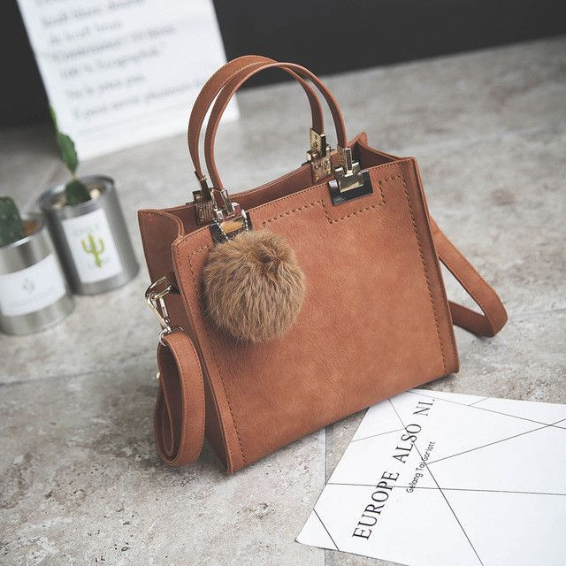 Brand Top-Handle Bags Women Leather Handbags Large Solid Shopping Tote With Tassel Fur Ball Shoulder Bag Messenger Bags