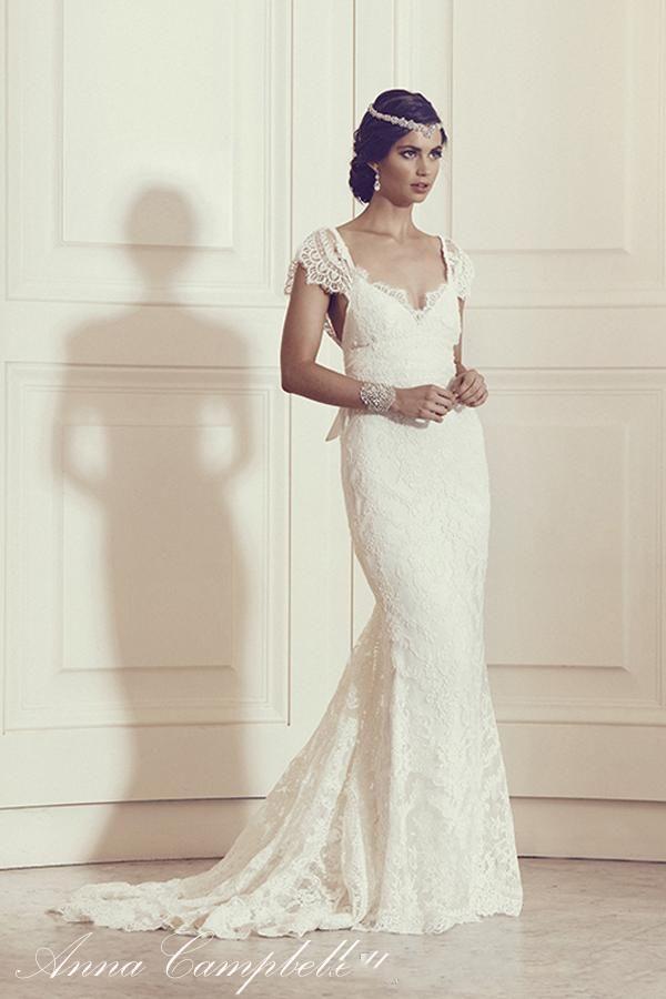 2016 Anna Campbell Silk Lace A Line Wedding Dresses V Neck Lace Cap ...