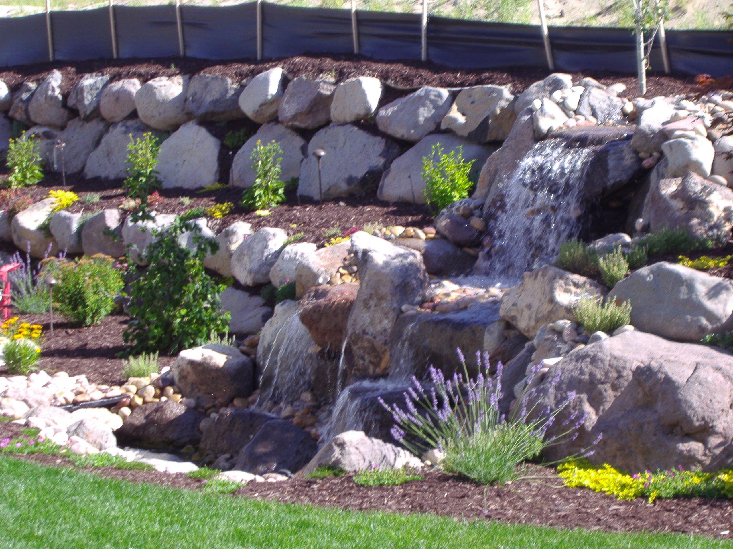 Rock Wall Waterfall Waterfalls Backyard Landscaping On A Hill Backyard