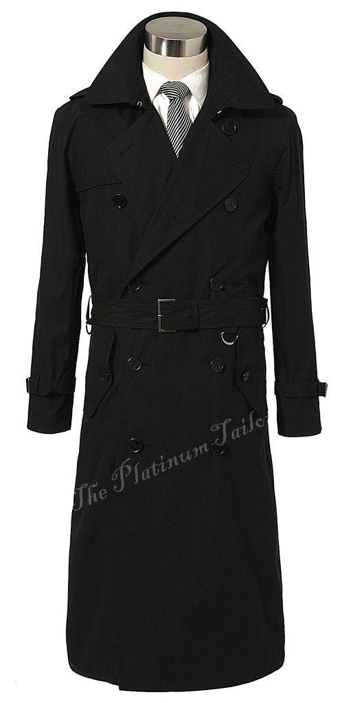 Custom Made Black Trench Coat Men, Double Breasted Winter Overcoat Men Long Coat, Cashmere Wool Coat Winter Coats For Men Jacket