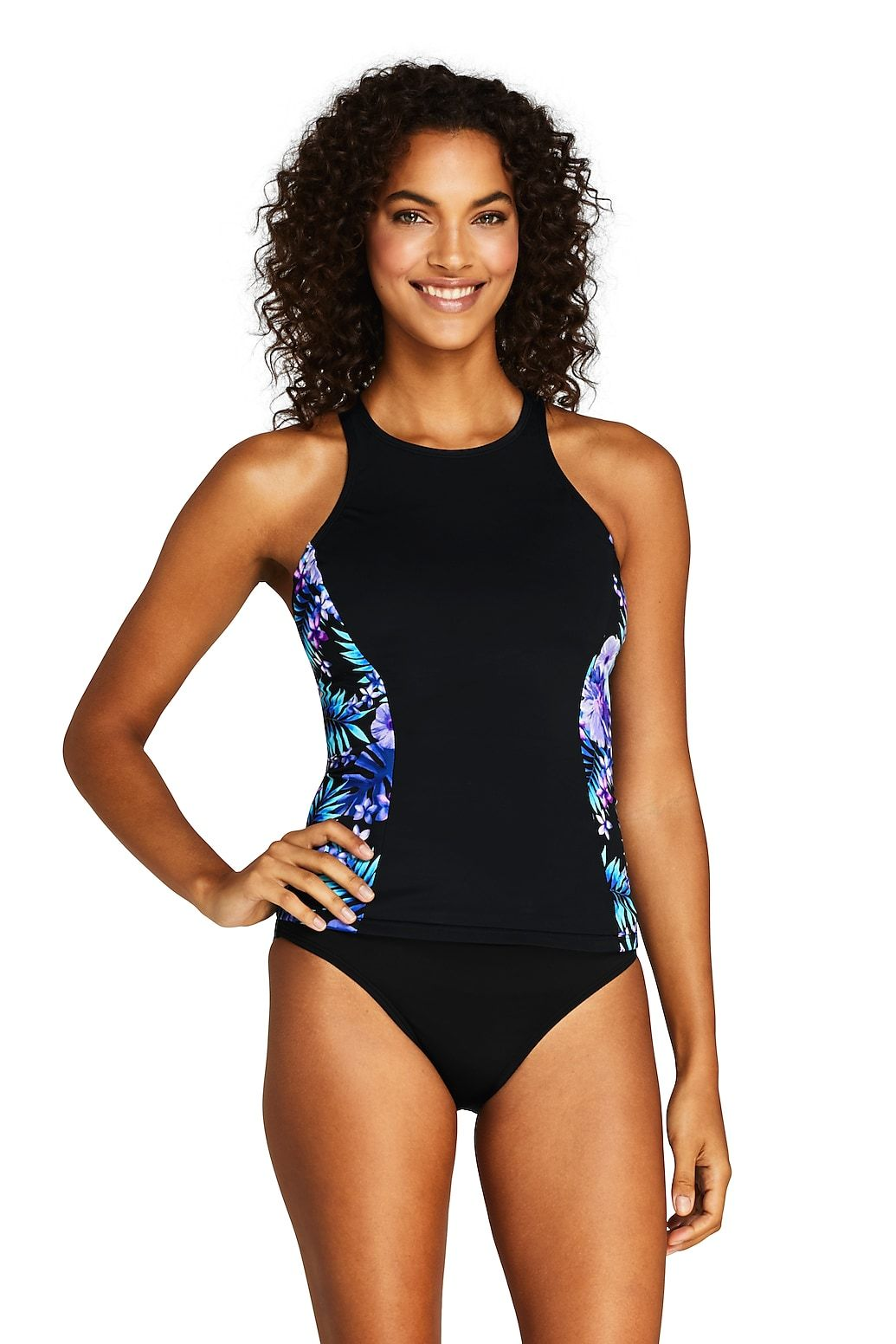 de96182c49026 Women's Chlorine Resistant High-neck Tankini Top Swimsuit Print from Lands'  End