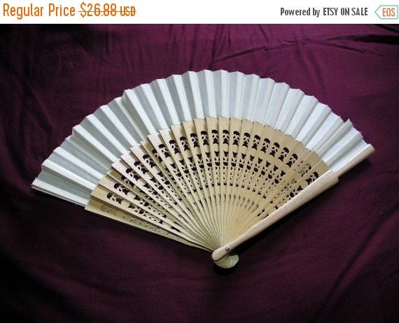 SALE Chinese hand fanvinatge 1970swhite by VintageAnd4All on Etsy