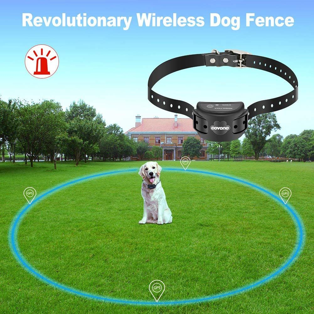 Covono Wireless Dog Fence Gps Invisible Fence 15lbs 120lbs Dogs Electric Dog Fence Pet Containment System Waterproof Rech Dog Fence Wireless Dog Fence Dog Gps