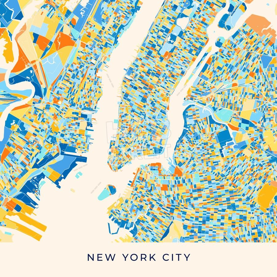 New York City colorful map poster template | Maps Vector Downloads Map Of New York Usa on