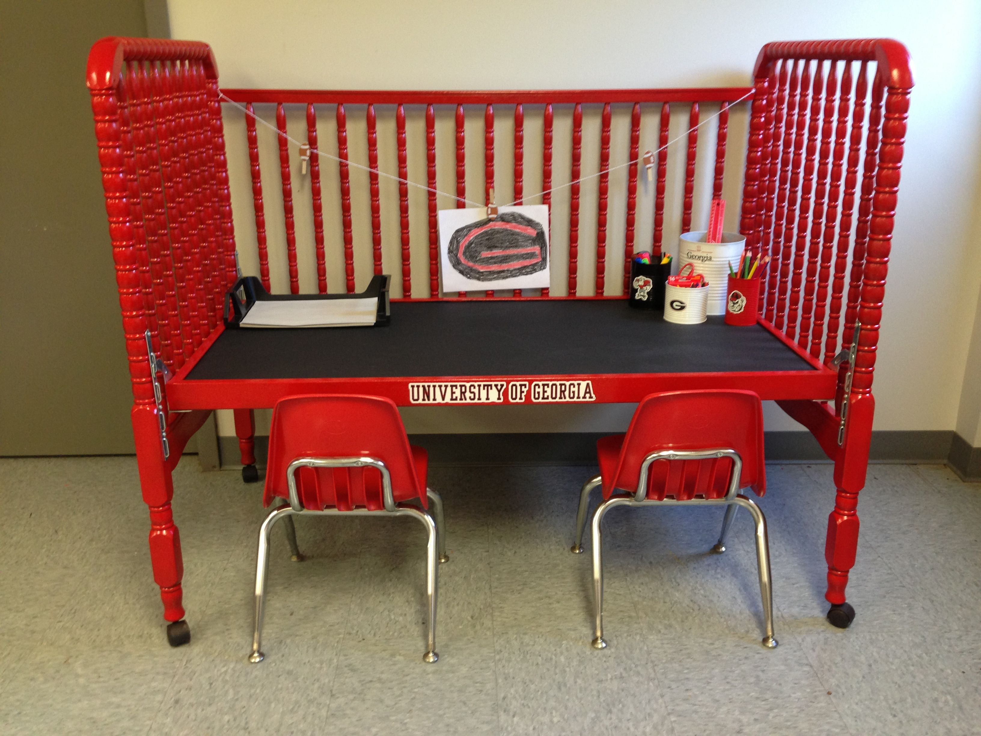 Old Baby Bed Turned Into A Desk Love This Idea I May Need One For Each Kid
