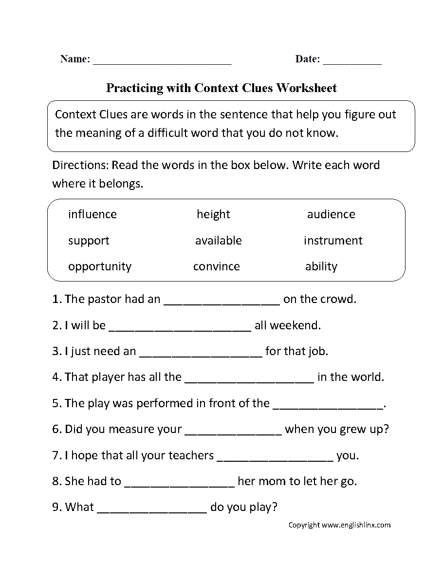 Worksheets Language Arts Worksheets 8th Grade practicing with context clues worksheet homeschooling reading writing language arts pinterest worksheets c