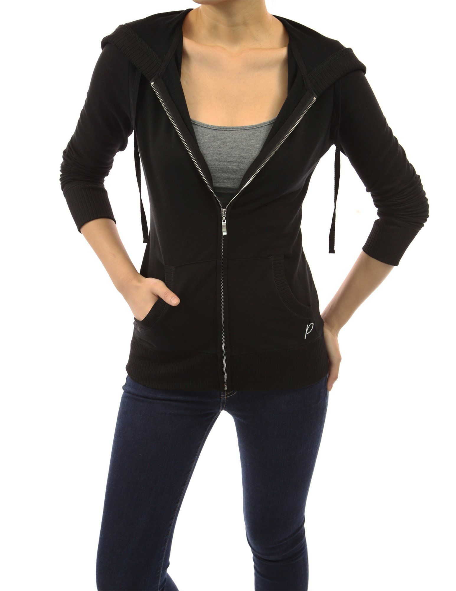 f1ad6615d26 PattyBoutik Cotton Blend Hoodie Zip Up Pocket Long Sleeve Jacket at ...