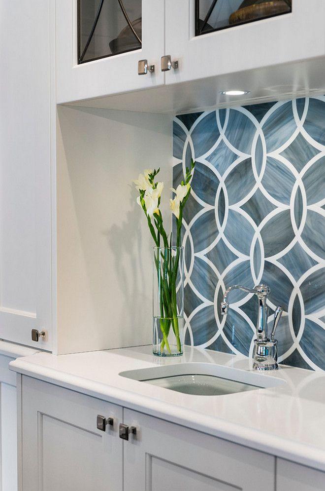 Best White Kitchen With Blue Gray Backsplash Tile Homebunch Com 640 x 480