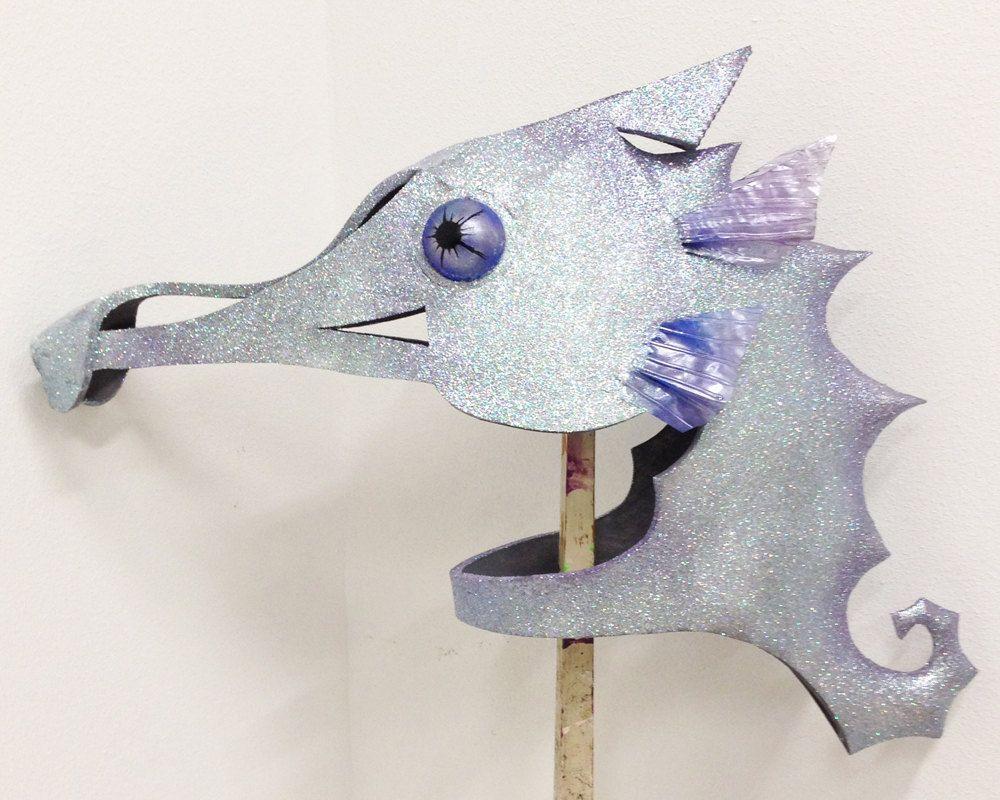 Seahorse mask. Handmade. Animal friendly. Water by TentacleStudio