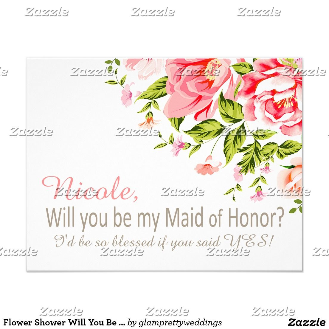 Flower Shower Will You Be My Maid of Honor? | pink | PINK WEDDING ...