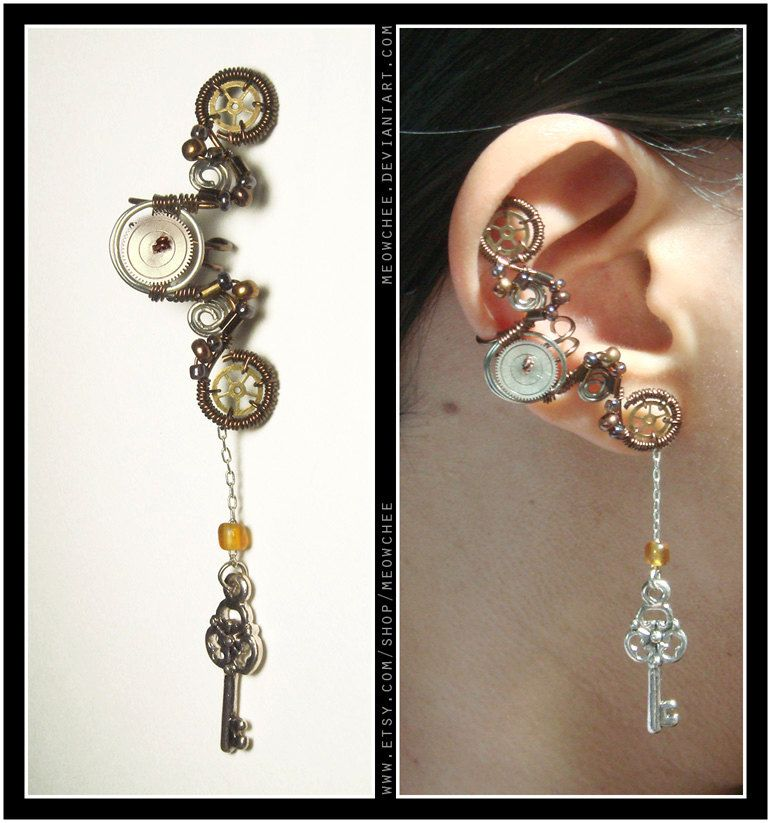 Steampunk Dangly Key ear cuff. $30.00, via Etsy. @Jillian Medford Medford Medford Heidenreich