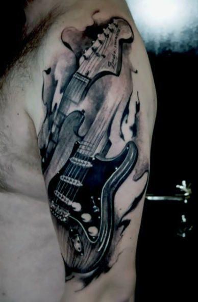 65 Gitarren Tattoos für Männer – Manly akustische und elektrische Designs - Mann Stil | Tattoo -  tattoos manner manly gitarren elektrische designs akustische  - #akustische #Designs #elektrische #für #Gitarren #Manly #mann #Männer #musictattooideas #Stil #Tattoo #tattooideascollarbone #tattooideassmall #Tattoos #und #wolftattooideas