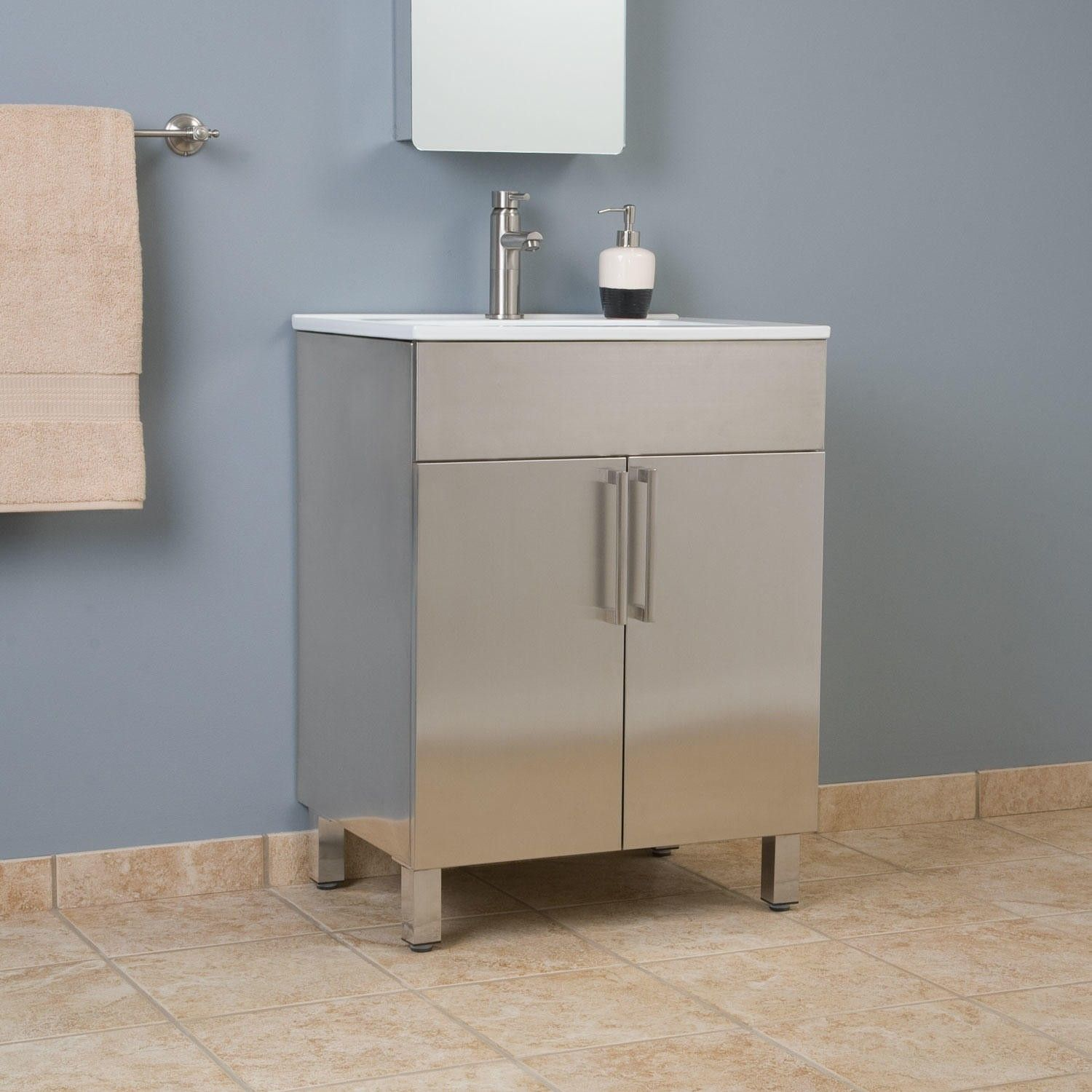 24 Crosstown Stainless Steel Vanity Brushed