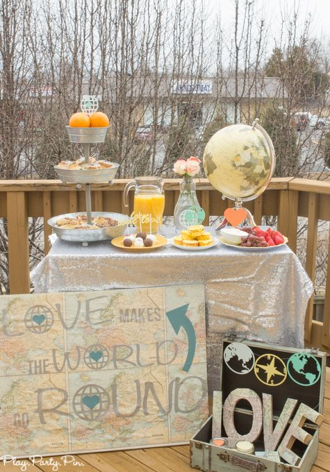 this love makes the world go round theme is perfect for a baby shower or a bridal shower use round foods worldtravel items and youre all set for a