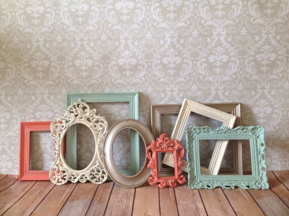 Mint - coral - PICTURE FRAMEs - vintage style - shabby chic ...
