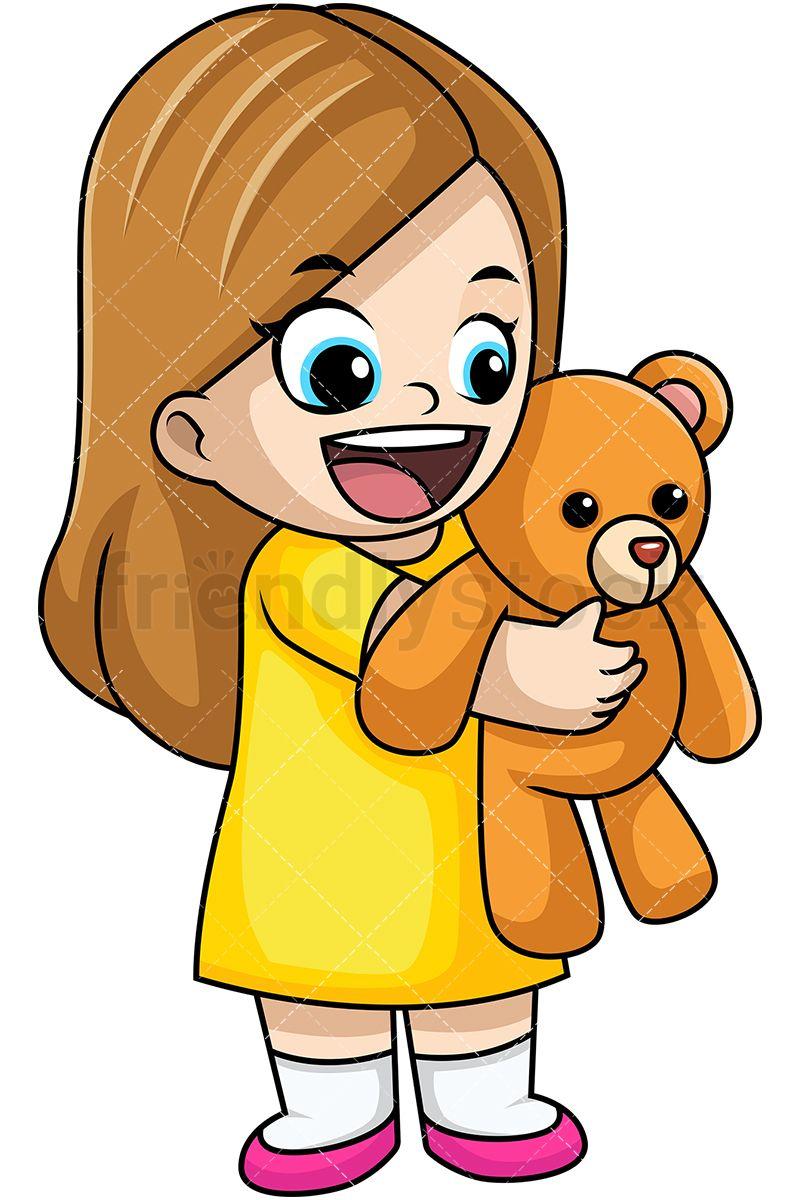 Happy Little Girl Holding Teddy Bear | Teddy bear cartoon ...