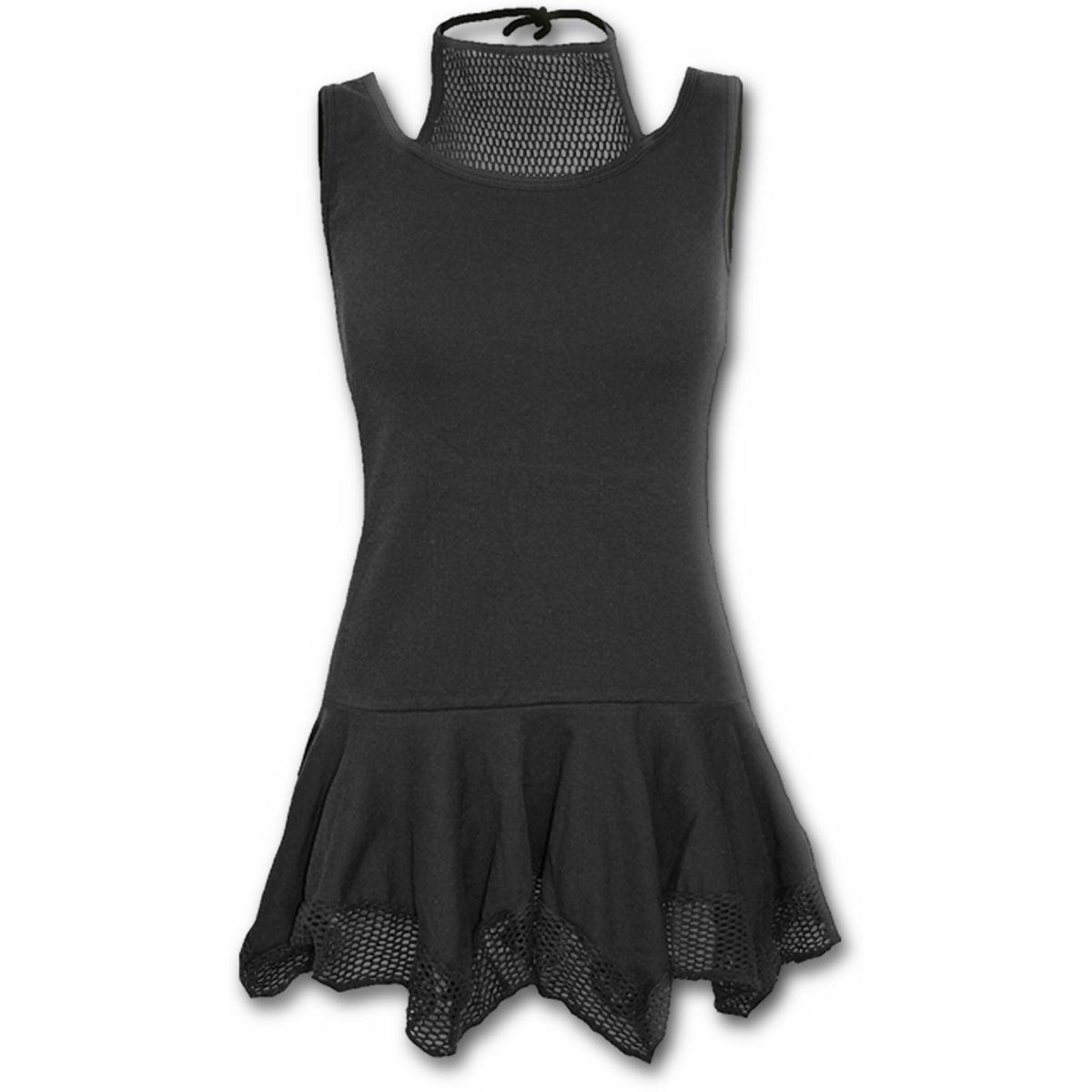 Gothic elegance in mesh vest dress black summer goth