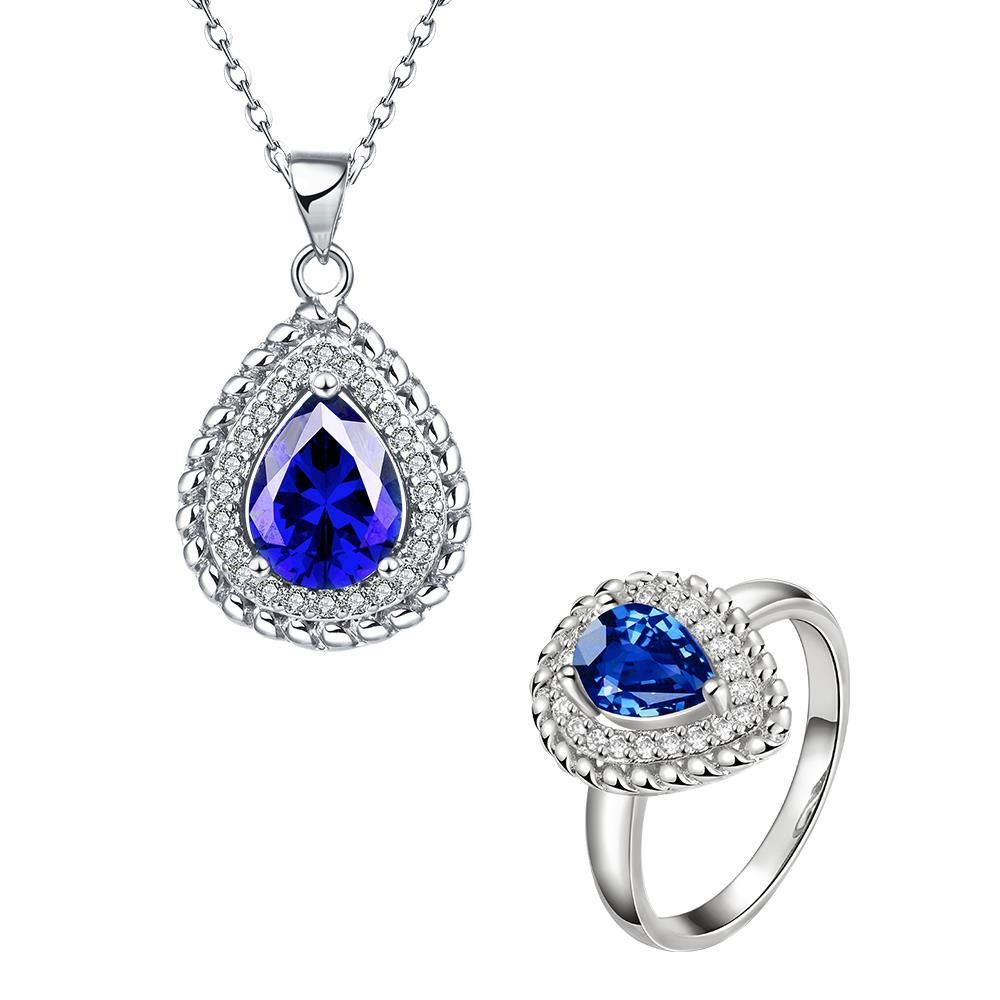Woman Necklace Gold with Diamonds and Sapphire Jewellery Set for Women