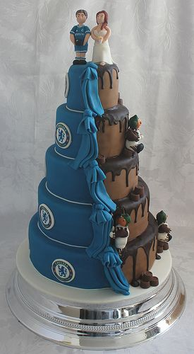 Chocolate and Chelsea FC wedding cake!!! :-) - totally doing this but half Man U!