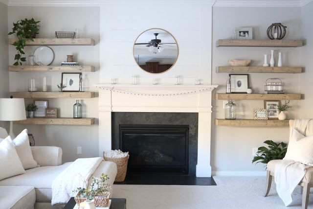 DIY, Living Room, Neutral Decor, Floating Shelves, Shiplap