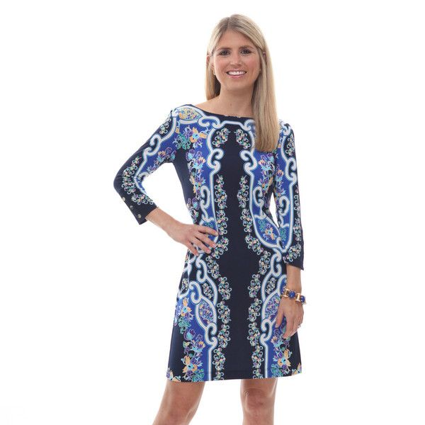 An intricate floral print in a rich color palate lends a dressed-up flair to this easy-to-wear, knit dress. Featuring just enough stretch for an u...
