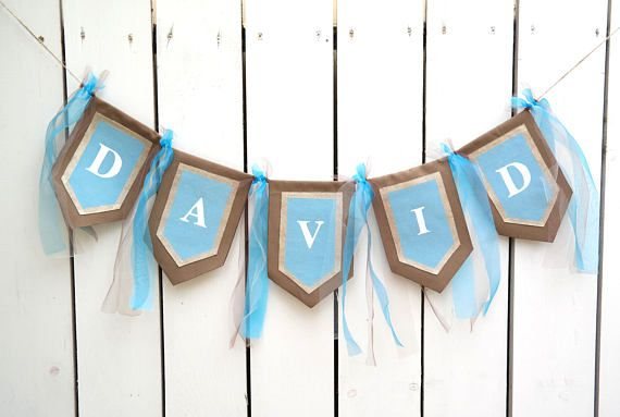 personalized boy name banner blue and gold name banner boy