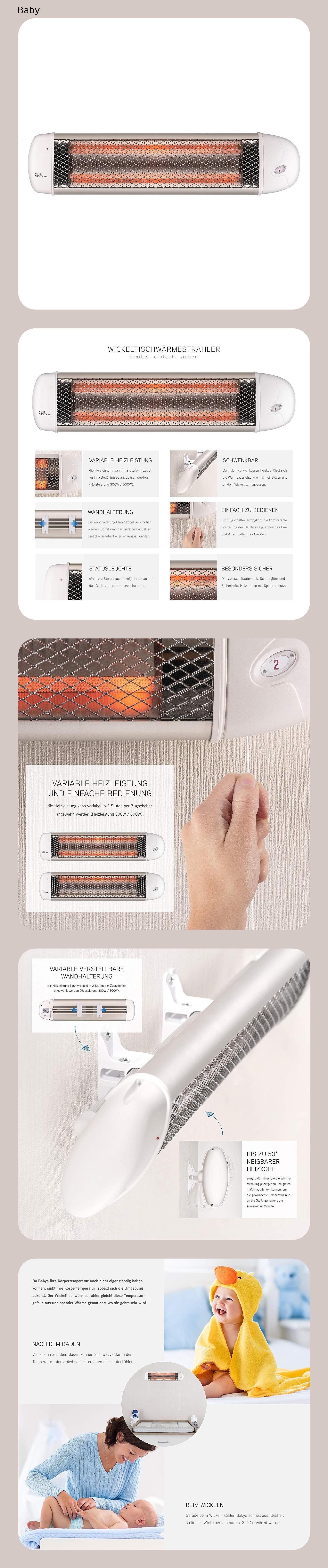 Wickeltisch Warmestrahler Mit Splitterschutz Und Abschaltautomatik Wandgerat Wickeltisch