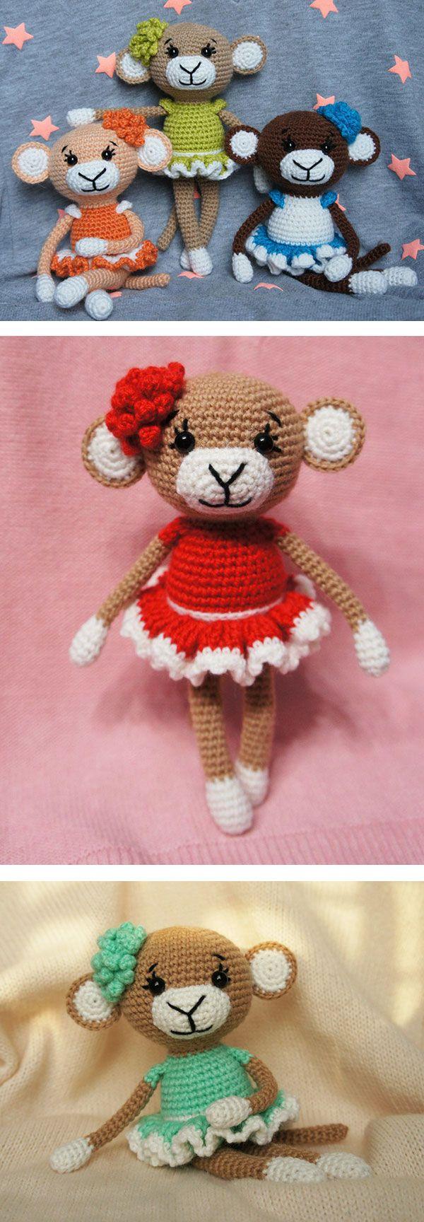 Glamorous monkey amigurumi - FREE PATTERN | amigurumis | Pinterest ...