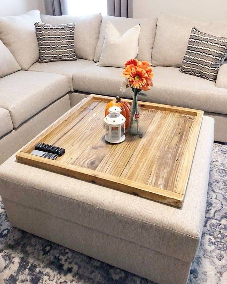 Wood Ottoman Tray Oversized Ottoman Coffee Table Large Wooden Tray Pouffe Top Cover Bed Wedding Gift Mother S Day Gift For Mom Ottoman Coffee Table Decor Ottoman Decor Oversized Ottoman Coffee Tables [ 993 x 794 Pixel ]