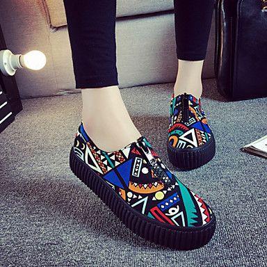 b6696aecc6 Zapatos de mujer - Tacón Plano - Comfort   Punta Redonda - Sneakers a la  Moda   Mocasines - Exterior   Casual - Tela - Negro   Multicolor 2016 -   34.99
