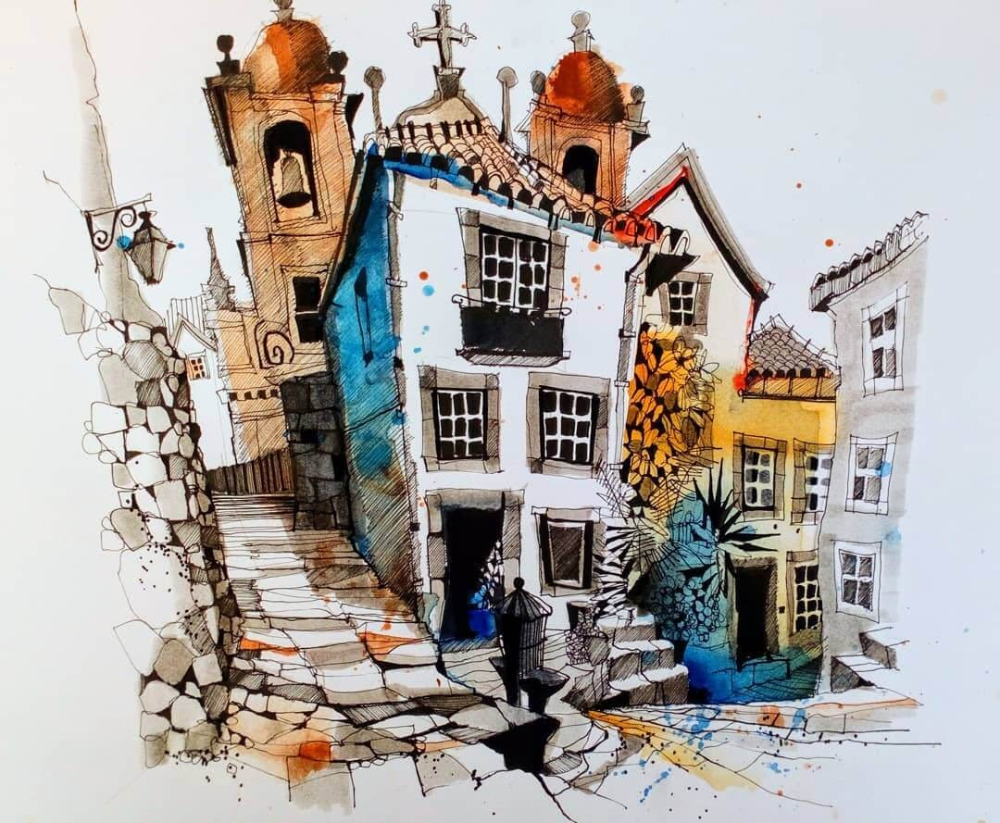 Urban Sketches Colorfully Painted