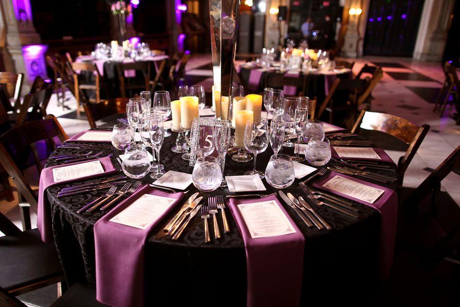 black with purple wedding reception tables purple black wedding table 550x366 glamorous purple baltimore wedding