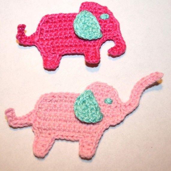 Patrón de ganchillo elefante Applique por nanasue en Etsy | Croche ...