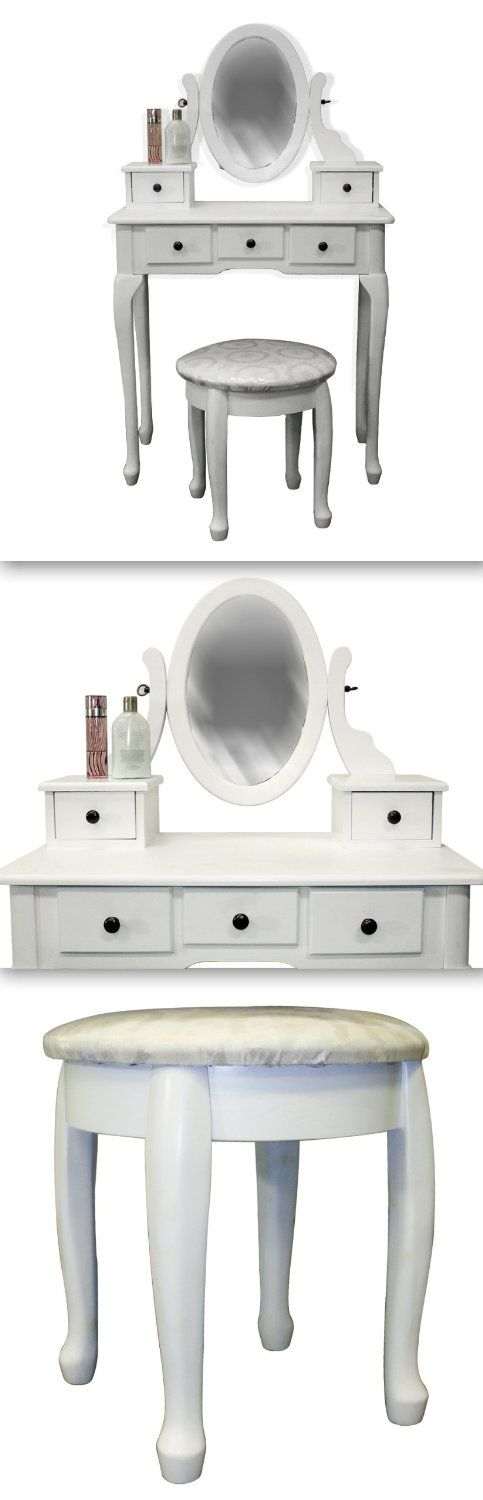 White Vanity Table Set Jewelry Armoire Makeup Desk Bench Drawer