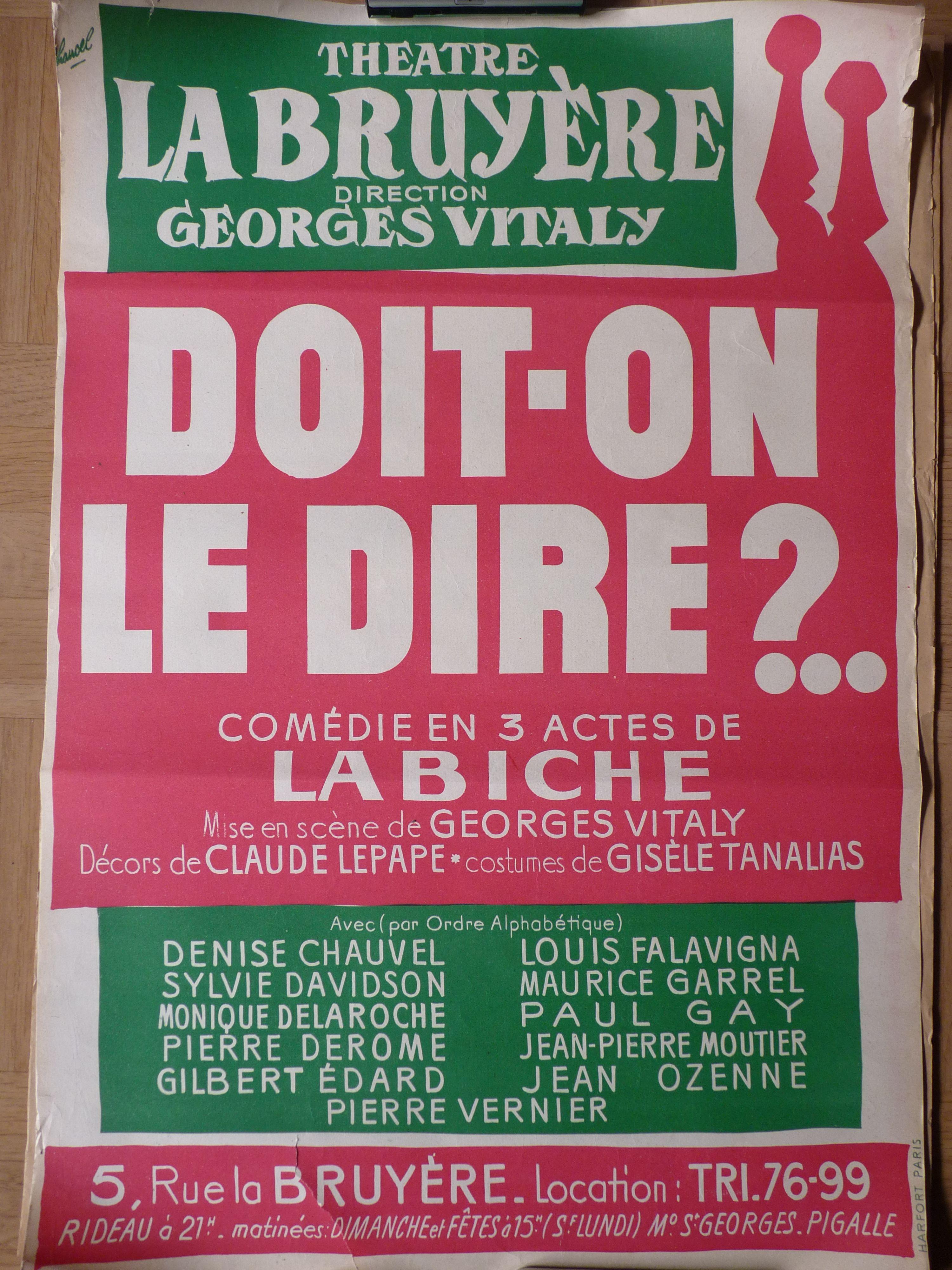 Théâtre de La Bruyère. Doit-on le dire ?.. par Chancel