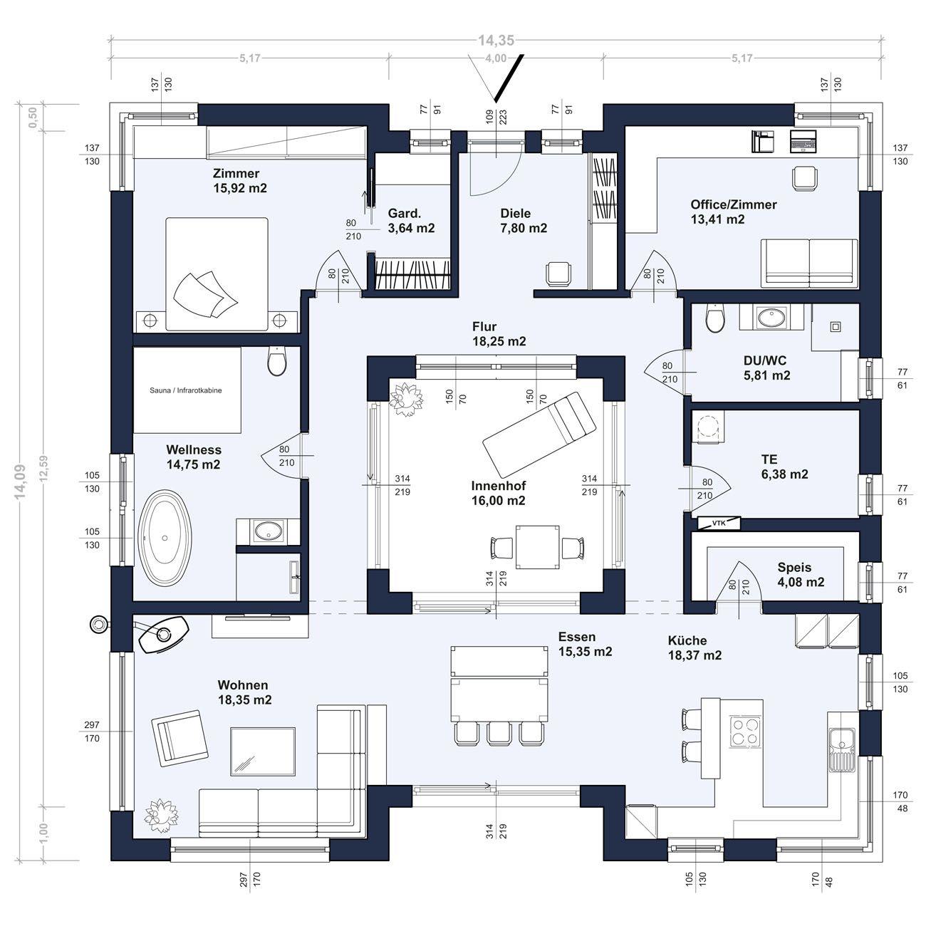 ZENKER Konzept BU 142 mit Flachdach (Abbildung mit