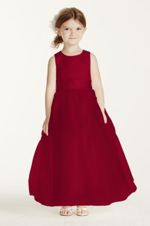 48b7cd3b14e Make the little miss feel as special as can be in this sleeveless satin  flower girl dress with a full tulle skirt. Polyester Removable sash Back  zipper  ...