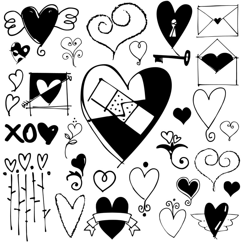 Heart Doodles Outside The Line Heart Doodle Heart Clip Art Doodle Art Posters