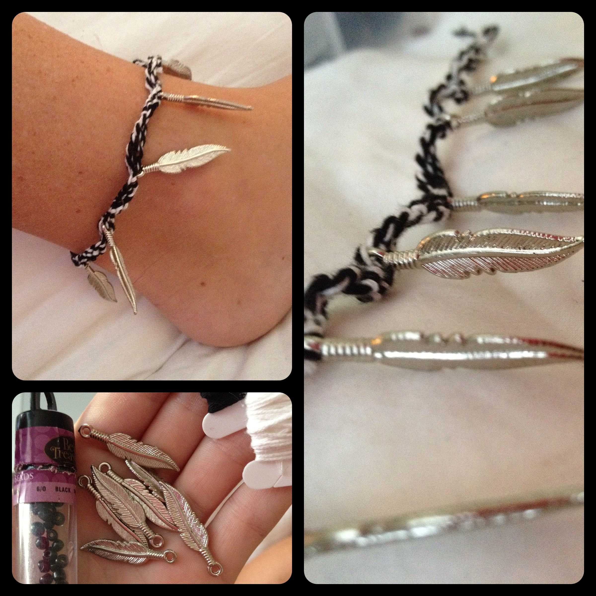 chain anklet of maybe with d silver feather instead a copper pin